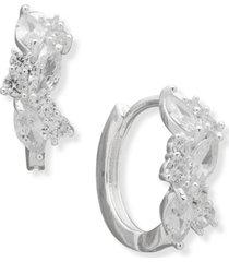 """anne klein silver-tone small navette crystal huggie hoop earrings, 0.65"""""""