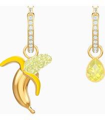 orecchini no regrets banana, multicolore, placcatura oro