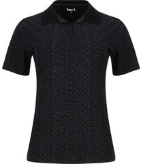 polo estampada mini cuadros color negro, talla l