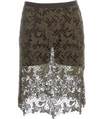 sacai embroidery lace skirt