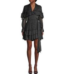 diane von furstenberg women's martina tiered polka dot silk a-line wrap dress - eden black - size xxs