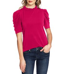 women's cece puff sleeve crepe top, size x-small - pink