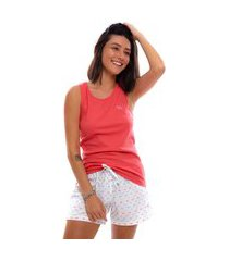 pijama short doll moon magic regata pink/branco