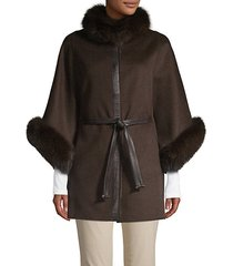made for generation fox fur-trim wool & cashmere cape