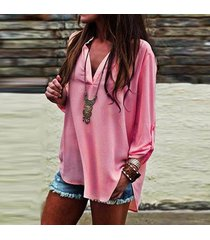 fashion women summer solid color neck long sleeve shirt loose chiffon tops pink