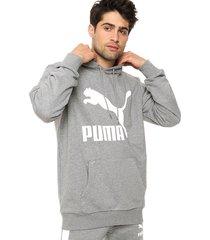 buzo gris puma classics logo hoody tr