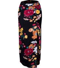 saia linda d longa floral com abertura preta