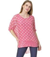 blusa lunares rosa bous