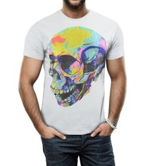 heads or tails men's thermal skull graphic printed rhinestone studded t-shirt