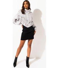 akira kayle coated high waisted midi jeans skirt
