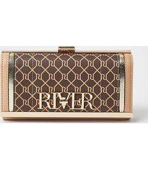 river island womens brown ri monogram cliptop purse