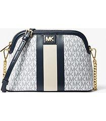 mk borsa a tracolla grande bombata a righe con logo - navy/bianco (blu) - michael kors