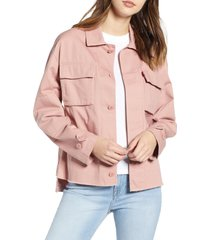 women's levi's oversize cotton canvas camo shirt jacket, size x-large - pink