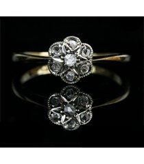 0.07 ct round diamond 18k yellow gold over engagement cluster flower ring