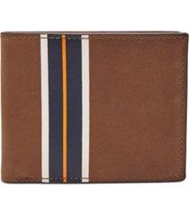 fossil men's hans flip id colorblocked leather wallet
