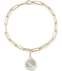 rounded long link bracelet with baroque pearl charm