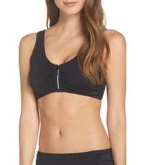 women's amoena cocos pocketed swim top, size 12c - black