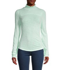 free people women's shirred cotton-blend blouse - iced aqua - size l