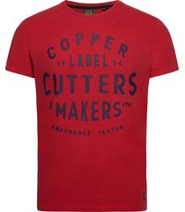 copper label tee t-shirts short-sleeved röd superdry
