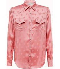 laneus camicia texana stelle rosa