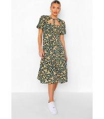 bloemenprint midi jurk met geplooide buste en uitsnijding, olive