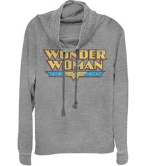fifth sun dc wonder woman retro logo cowl neck women's pullover fleece