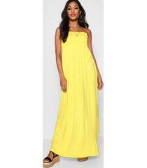 gesmokte bandeau maxi-jurk, geel