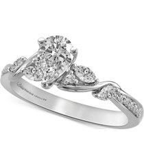 bliss monique lhuillier diamond pear center engagement ring (3/4 ct. t.w.) in 14k white gold