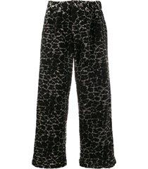 maryam nassir zadeh faux fur leopard-print trousers - black