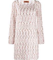 missoni woven effect dress - white