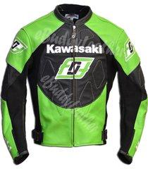 mens green and black ninja kawasaki motorcycle biker leather jacket speed hump