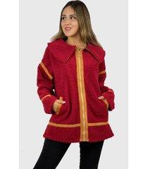 abrigo polar hippie chic rojo enigmática boutique