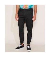 calça de sarja masculina jogger slim cargo preta