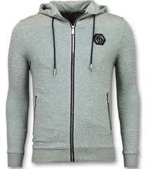 sweater enos vest met capuchon - trainingsjack - f581g -