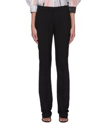 centre crease fitted wool silk blend pants