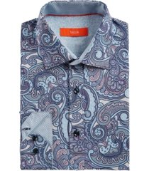 tallia men's slim-fit no-iron performance stretch paisley dress shirt