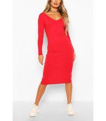 bodycon-jurk met lange mouwen en v-hals, rood