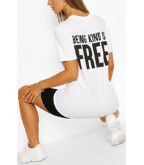 being kind is free printed t- shirt, white
