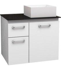 gabinete para banheiro em aço com tampo de vidro figo 60,9cm branco e preto