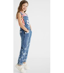long denim overalls lace - blue - 7/8