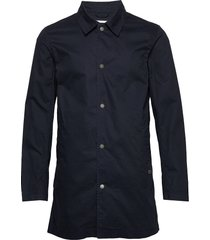 mac coat dunne lange jas blauw lindbergh
