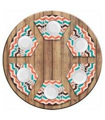 jogo americano love decor  para mesa redonda wevans listras geométricas kit com 6 pçs