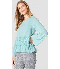 rut&circle venda waist seam blouse - blue