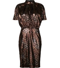 msgm micro pleated sequin dress - gold