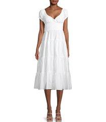 danielle bernstein women's shirred puff-sleeve tiered dress - optic white - size xs