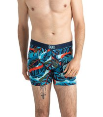 saxx vibe slim fit boxer briefs, size small in blue pop jungle at nordstrom