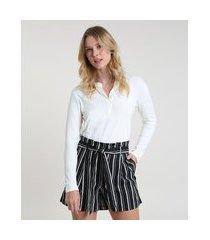 blusa feminina manga longa decote v off white