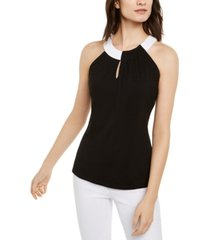 i.n.c. petite colorblocked halter top, created for macy's