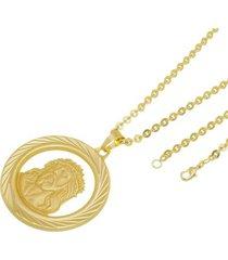 kit medalha face de cristo com corrente tudo jóias cadeado folheado a ouro 18k