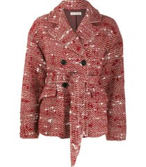 ulla johnson dillon belted tweed jacket - red